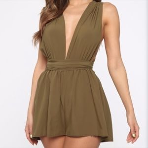 Pants - Olive/Army Green Wrap Tie Sexy Romper - L